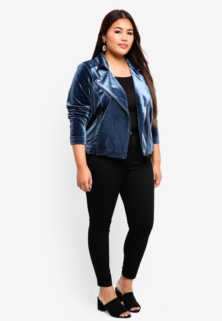 Blue Teal Junarose Plus Size Wing Nita Jacket HHYIR