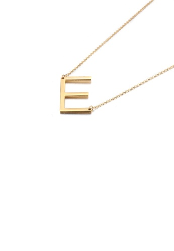 Glamorousky silver Simple and Fashion Plated Gold English Alphabet E 316L Stainless Steel Pendant with Necklace 0343EAC8EDDC14GS_1