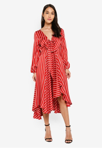 8676f8db10635 INDIKAH red Front Tie Long Sleeve Hi-low Hem Midi Dress F8DF9AA648A358GS_1