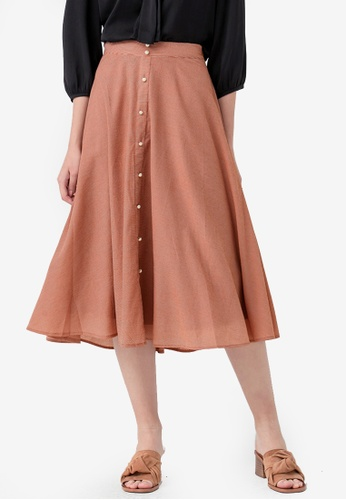 Kodz brown Pearl Embellished Skirt 00013AA01461A7GS_1