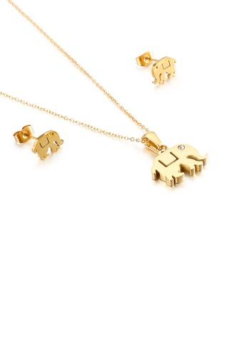 Glamorousky 白色 簡約可愛鍍金色大象316L鋼項鏈和耳釘套裝 2226DACB80D501GS_1