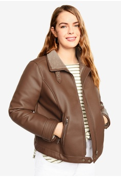 33bd53266a Violeta by MANGO brown Plus Size Faux-Fur Lining Biker Jacket  6F5E4AA2BB9E17GS 1