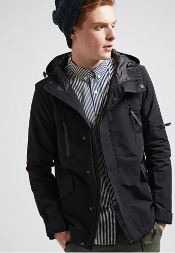 率性機能。防潑水。高織數風衣外套-07370-黑色, 服飾esprit地址, 外套