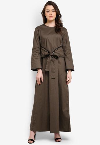 Zalia green Contrast Binding Waist Tie Dress D5635AA941734FGS_1