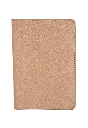 Miajee's beige Slim Passport Cover Leather Handcrafted - Milk Tea 6A31EAC7CD5C9BGS_1