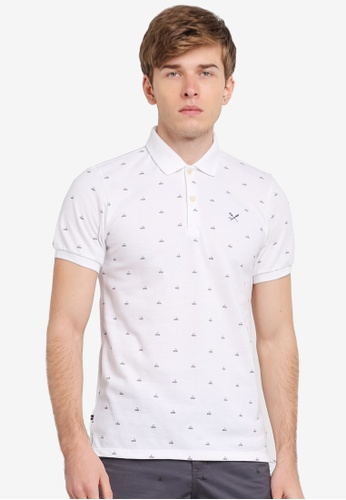 REGATTA white Polo Shirt With All-Over Print RE699AA0SN2BMY_1