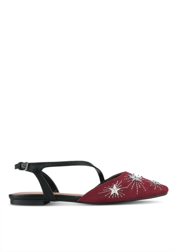 Something Borrowed red Star Studded Embellished Flats 671BFSH399C6FFGS_1