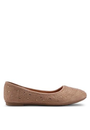 Noveni 褐色 鑽飾平底鞋 17DEBSH87966F2GS_1