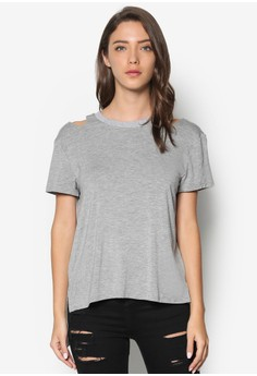 Shoulder Cut-Out Zipper Tee