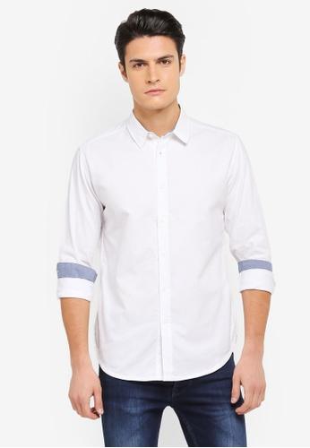 ZALORA white Inner Contrast Fabric Long Sleeve Shirt CC3E2AAE7FC33EGS_1