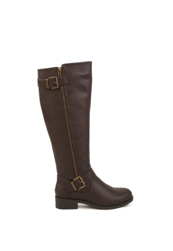 London Rag brown Side Zipper Calf Boots BCCA0SHEB48BC7GS_1