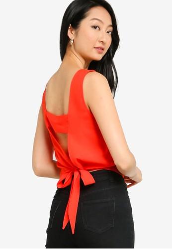ZALORA BASICS orange Back Tie Detail Crop Top 7A0E7AA8CDB569GS_1