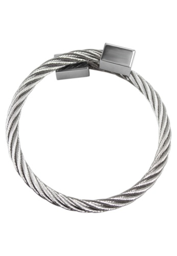 Venice Jewelry silver Cable Wire Cuboid End Cuff  Bracelet 20110 VE564AC64UKHPH_1