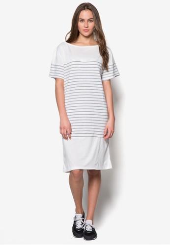 條紋直筒連身裙zalora退貨, 服飾, 夏日洋裝