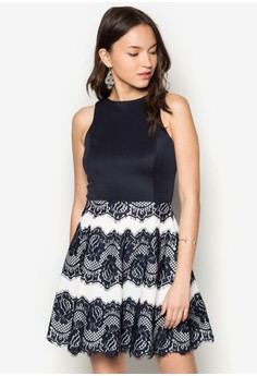 Lace Placement Fit And Flare Dress