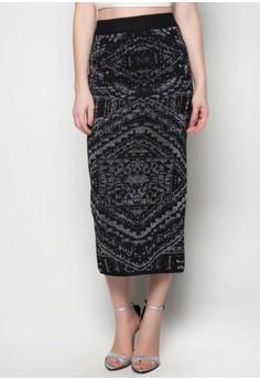 Maxi Knitted Skirt Pyramid Printed Design