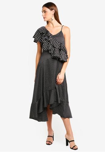 bYSI black Asymmetric Dotted Ruffle Dress 9DAA8AAEC55B66GS_1