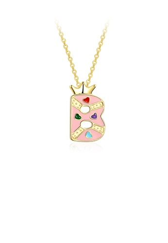 Glamorousky silver Fashion Creative Plated Gold Crown Letter B Pendant with Necklace CCD89AC33479EAGS_1