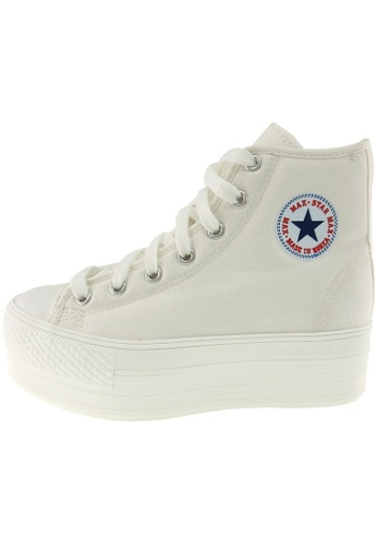Maxstar Maxstar Women's C50 7 Holes Zipper Platform Canvas High Top  Sneakers US Women Size MA168SH05BBEHK_1