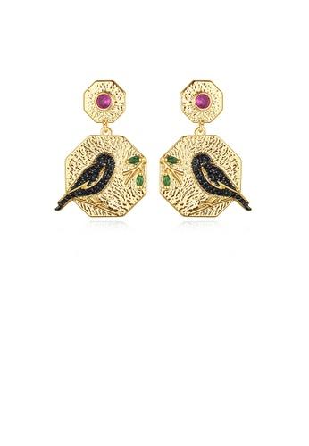 Glamorousky black Fashion and Elegant Plated Gold Geometric Diamond Earrings with Cubic Zirconia 185F2AC11DE0A0GS_1