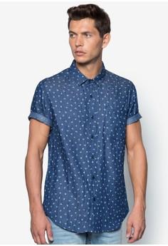 Bird Micro Printed Short Sleeve Denim Shirt