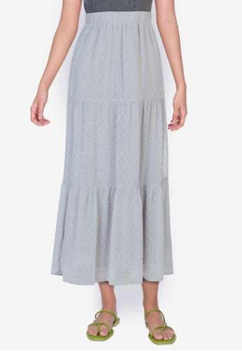 ZALORA BASICS grey Tiered Maxi Skirt BCA3AAADE30BFFGS_1