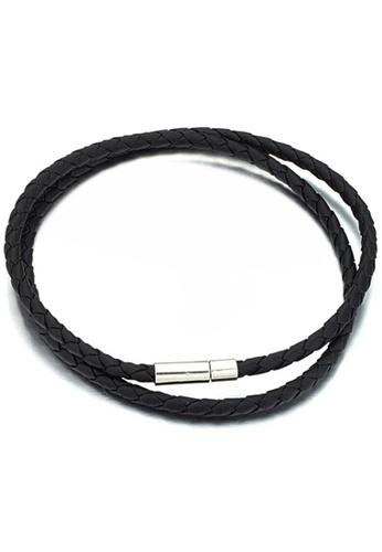YOUNIQ black YOUNIQ Duo Slim Steel Genuine Black Leather Bracelet for Men YO999AC88DAPMY_1