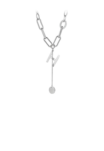 Glamorousky silver Simple Personality English Alphabet H Tassel Round 316L Stainless Steel Pendant with Necklace D7F39ACEF3EB38GS_1