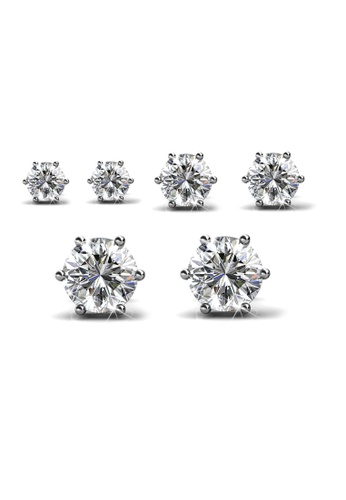 Her Jewellery silver Swarovski® Crystals - Trinity Earrings Set (2 sets) (18K White Gold Plated) Her Jewellery HE581AC0RACUMY_1