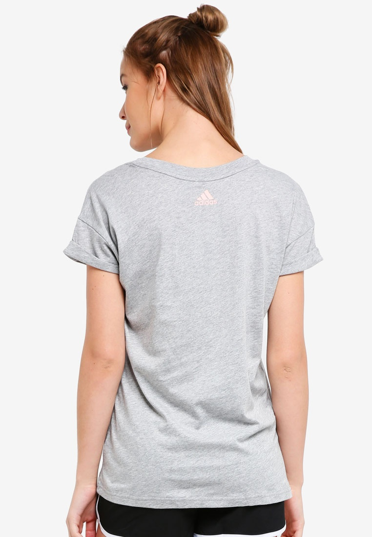 adidas Medium lo ess tee lin adidas Grey Heather vg8w8d