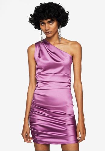Mango pink Asymmetrical Satin Dress MA193AA0S9LYMY_1