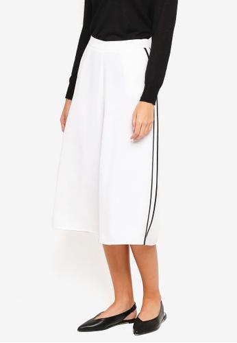 ZALORA white Side Stripe Culottes B2357AAFA0DCA0GS_1