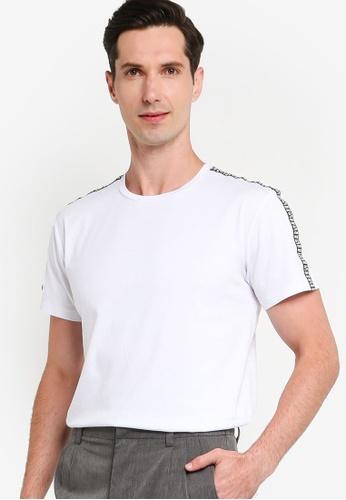 ZALORA BASICS 白色 Logo Trim Short Sleeve T-shirt 5C35DAA71E8479GS_1