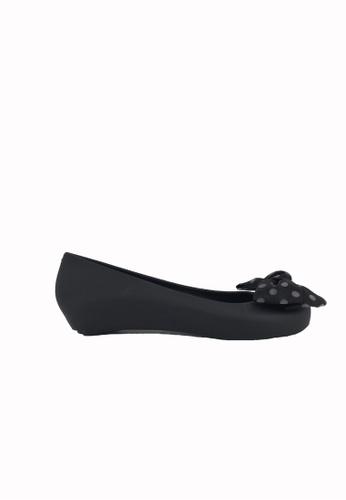 Halo 黑色 新款蝴蝶結魚嘴防水平底鞋 DFBC3SH7B4544DGS_1