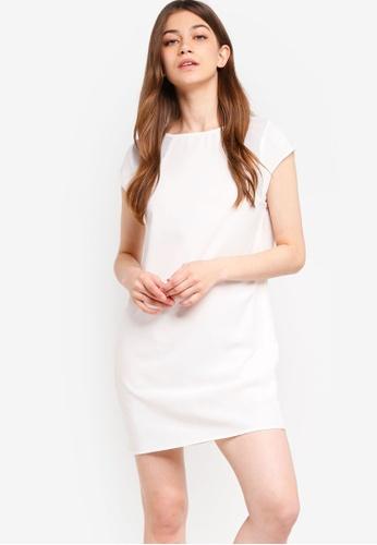 Something Borrowed white Mesh Insert Shift Dress F8157AA7BE9077GS_1