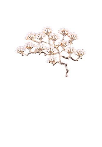 Glamorousky white Elegant Temperament Plated Gold Pine Imitation Pearl Brooch 9F3E0ACE0C5B1EGS_1