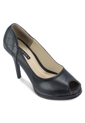 Coco 菱esprit台灣官網格紋露趾高跟鞋, 女鞋, 鞋