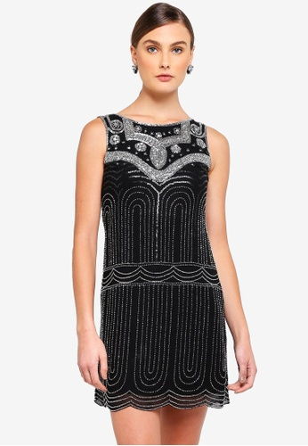 Frock and Frill black Annalise Black And Silver Deco Dress AAEAEAA7149420GS_1