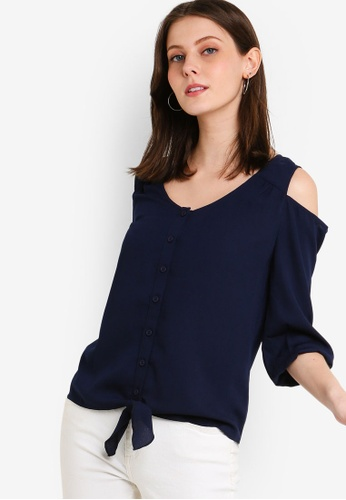 ZALORA navy Cold Shoulder Button Down Top 3B75FAA675DDA6GS_1