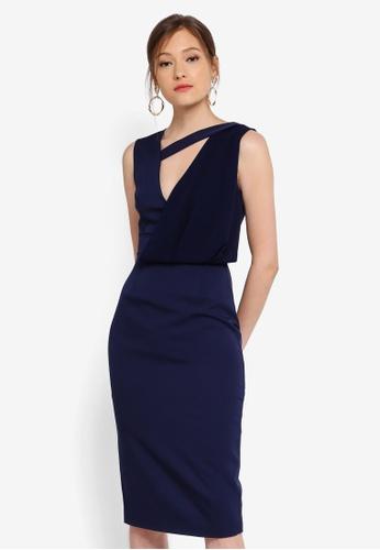 Lavish Alice navy Drape Layer Midi Dress 498D6AA93486B4GS_1