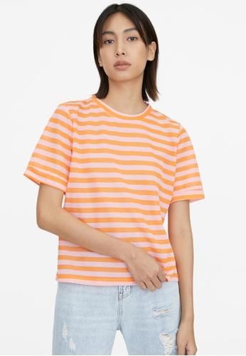 Pomelo orange Striped Loose Crew Neck Tee - Orange 1B4A3AA6CA923EGS_1