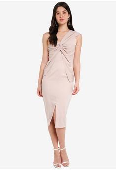 d00c3f5a4f7 Lavish Alice grey One Shoulder Twisted Detail Midi Dress LA457AA0SSQRMY 1