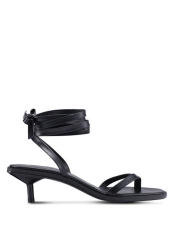 Mango black Leather Straps Sandals 1F9E5SH1655A1BGS_1
