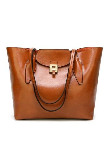 Lara brown Women Solid Lock Shoulder Bag 933C3ACEECB590GS_1