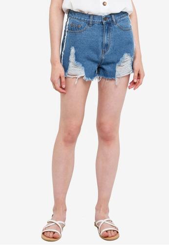 Something Borrowed blue Destroyed Frayed Denim Shorts 3F579AA9B33E83GS_1