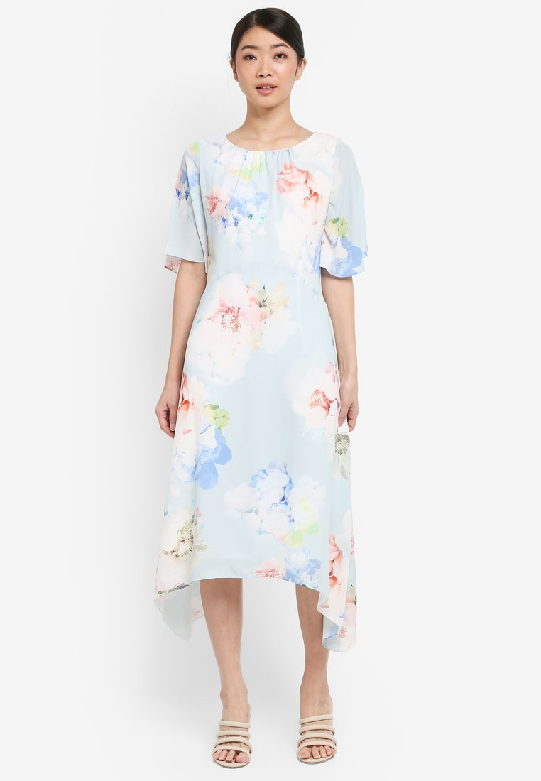 Wallis Flare And Fit Light Floral Blue Dress Petite Blue rqwIUXnr
