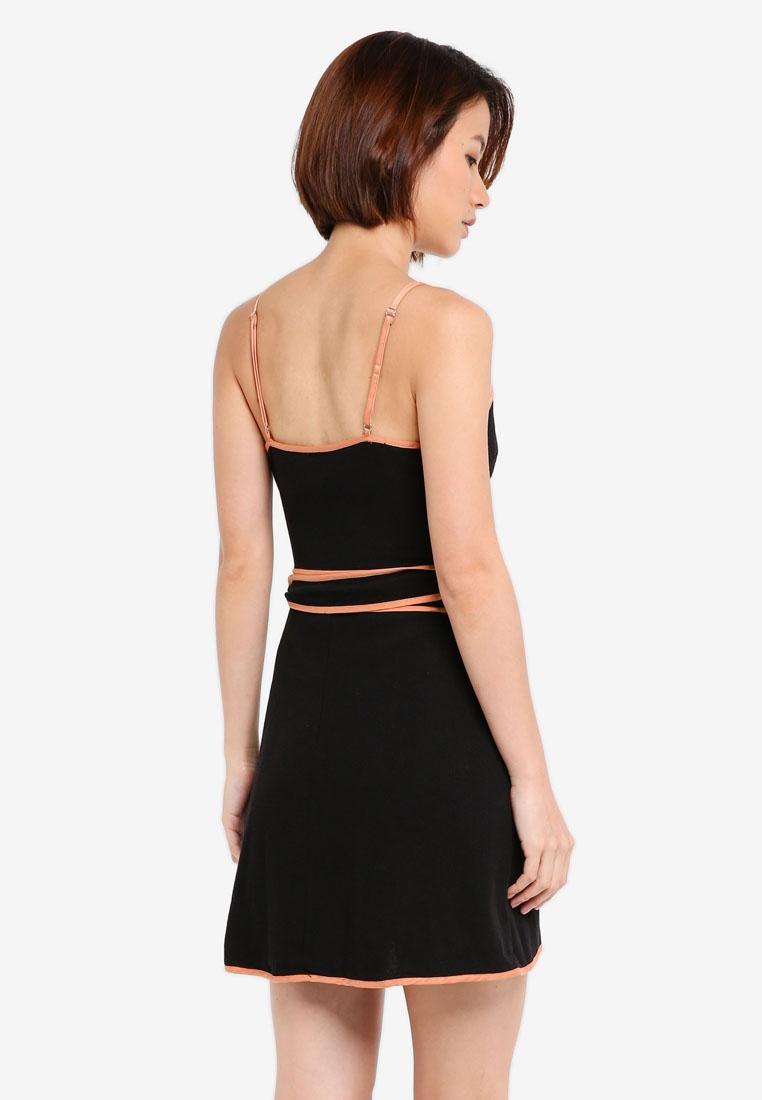Contrast Wrap Black Seam INDIKAH Mini Dress CUC7rxYw