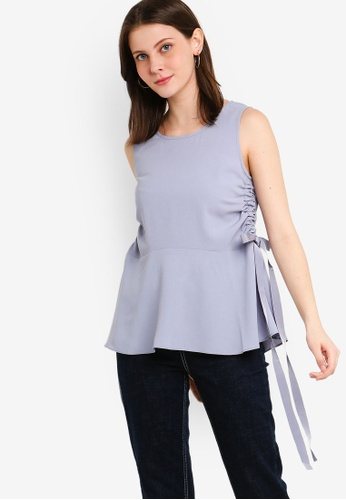 ZALORA grey Ruched Side Top CA204AA1C34D08GS_1