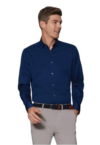 T.M. LEWIN blue T.M.Lewin Stretch Cotton Slim Fit Plain Blue Single Cuff Shirt 1499EAAB73FC23GS_1