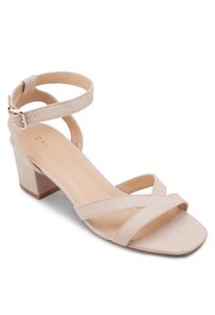 【ZALORA】 踝帶粗跟涼鞋